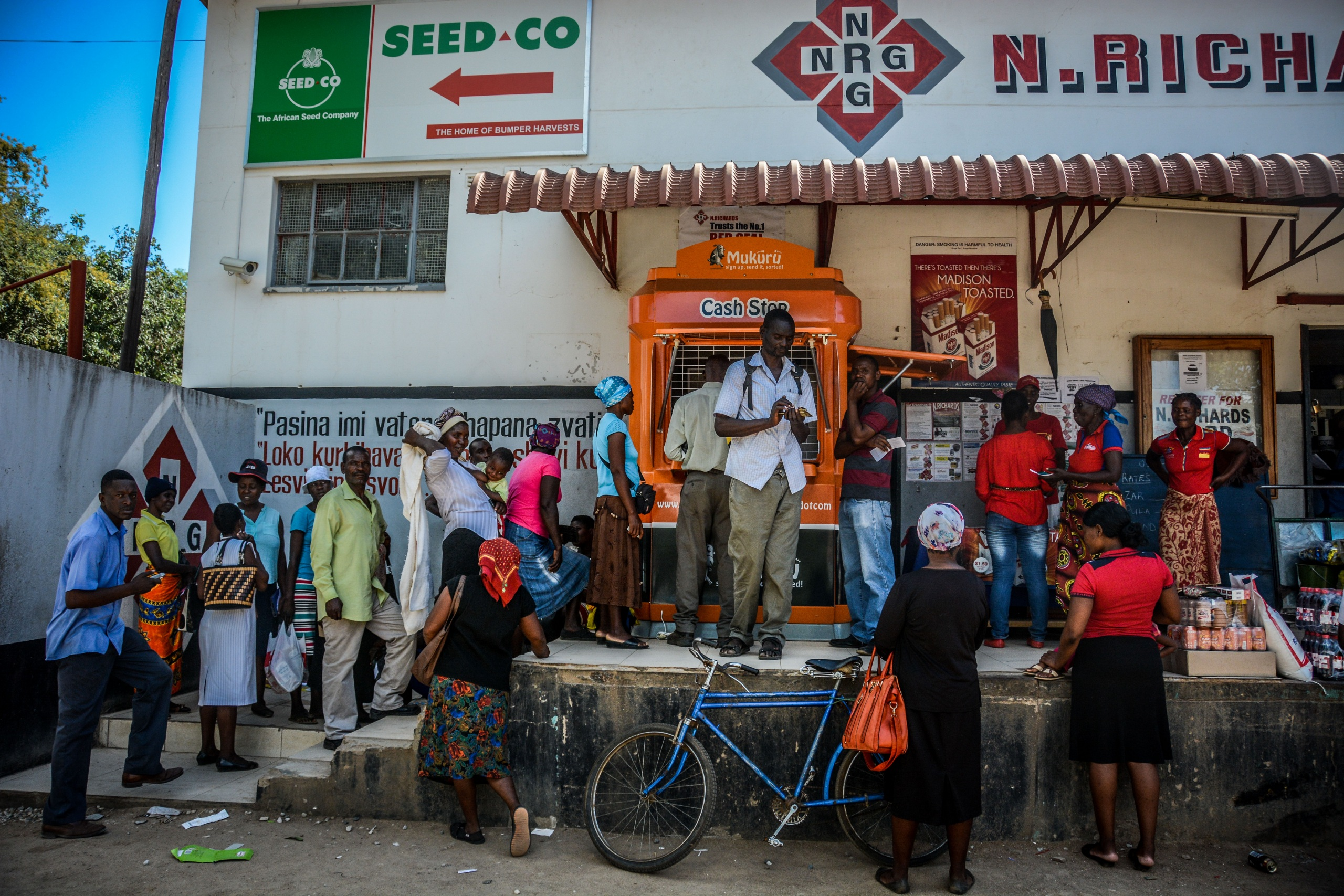Customers lined up outside a Mukuru Orange Booth
