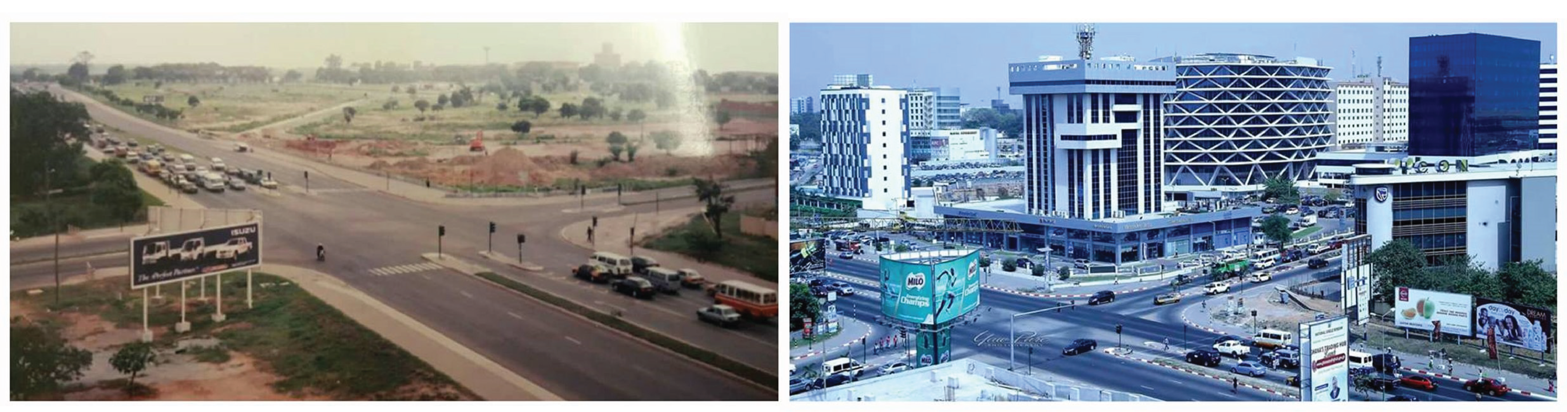 A comparison of an intersection in Accra, Ghana in 1999 versus 2009.